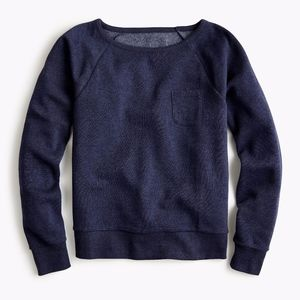 J. Crew Pocket Sweatshirt Navy Blue Brushed Back M